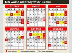 Kalendarz 2016 Dni wolne, przedłużone weekendy, ferie