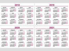 Festlegen Sie Wand Kalender 2018 2019 2020 2021 Raster