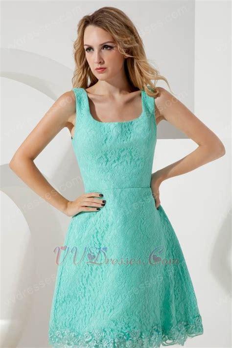 Unique Square Turquoise Lace Junior Graduation Dress