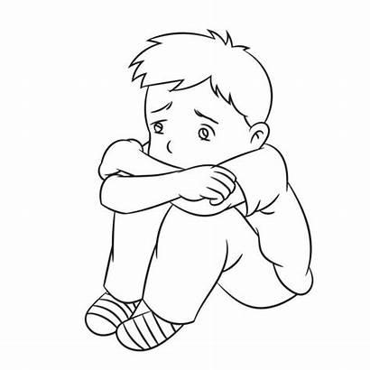 Sad Lonely Cartoon Boy Drawing Line Solitario