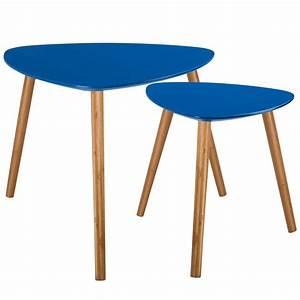 Table Basse Bois Foncé : tables basses gigognes en bois bleu fonc lot de 2 koya design ~ Teatrodelosmanantiales.com Idées de Décoration