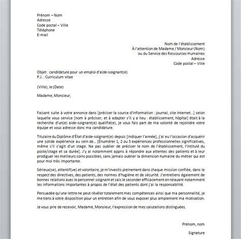lettre de motivation aide soignante maison de retraite lettre de motivation pour un poste d aide soignante mod 232 le et conseils