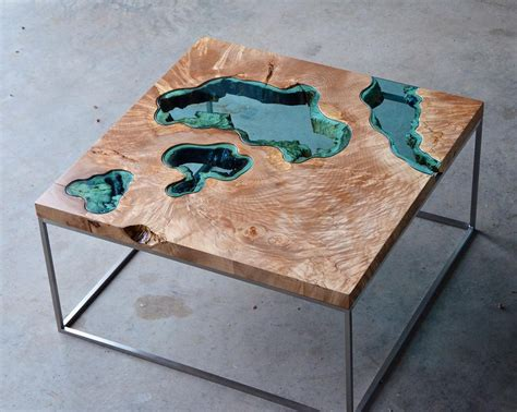 Tisch Holz Glas by Wood Tables And Wall Embedded With Glass Rivers And
