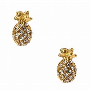 Gold Rhinestone Studded Pineapple Stud Earrings | Claire's US
