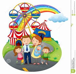 A Happy Family Going To The Amusement Park Stock Vector ...