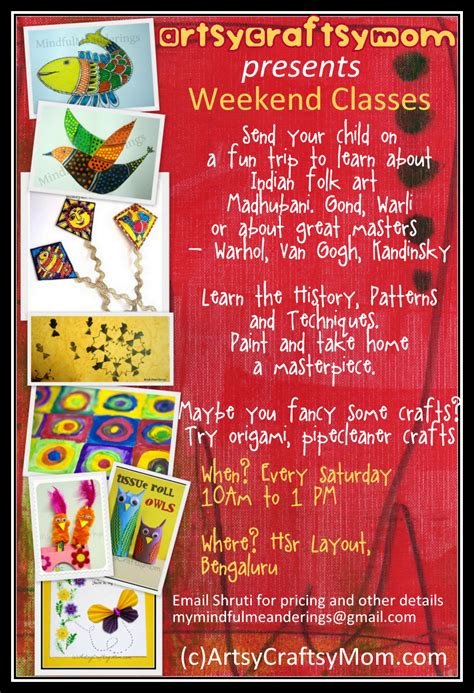 weekend art craft classes artsy craftsy mom