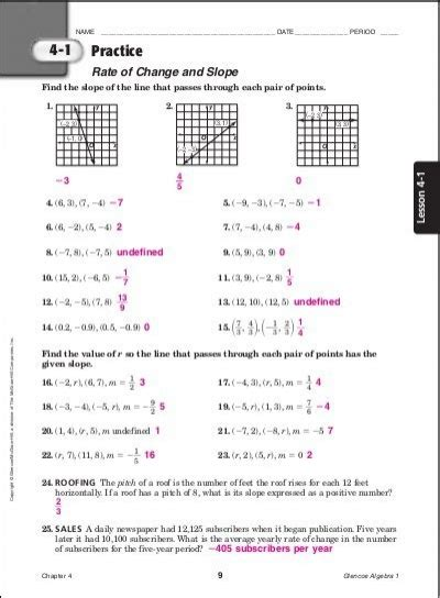 glencoe algebra 1 worksheet answer key free worksheets