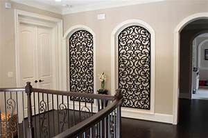 Faux wrought iron art niche decor mediterranean hall for Kitchen colors with white cabinets with tuscan wrought iron wall art