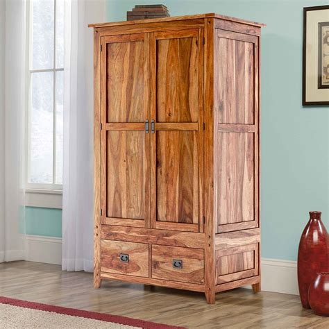 Wardrobe Cabinet Closet by Delaware Solid Wood 2 Drawer Rustic Armoire Closet