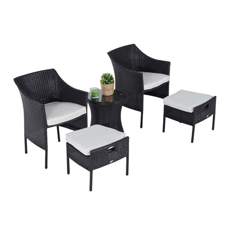 outsunny outdoor indoor 5pcs wicker rattan coffee set
