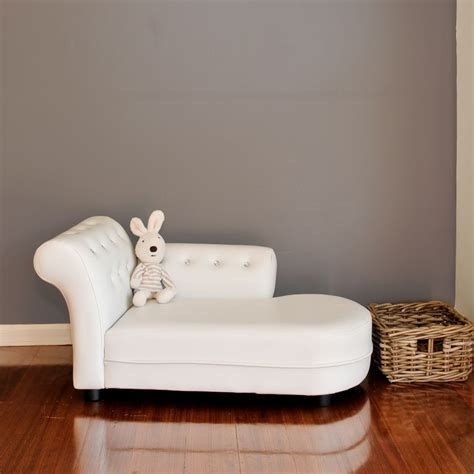 small kids pu leather stud chaise lounge  white buy