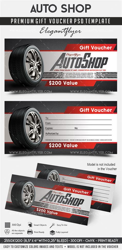 Automotive Gift Certificate Template Free by Auto Shop Premium Gift Certificate Psd Template By