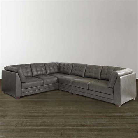 l shaped sectional slate grey leather l shaped sectional