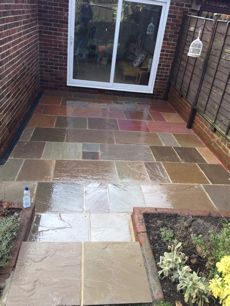 carville indian sandstone multi buff patio  mushroom grout project lord roofing