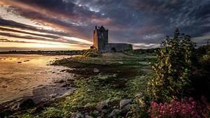 Wallpaper Ireland, Galway, castle, clouds, river, dusk