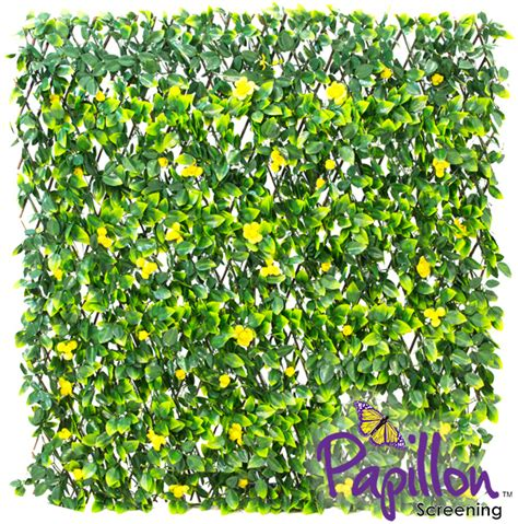 2m Trellis by 1 X 2m Extendable Artificial Yellow Flower Screening