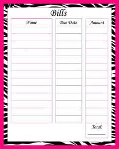 Printable Monthly Bill List