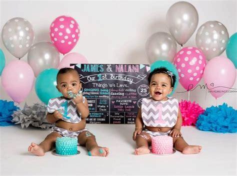 Twins First Birthday Chalkboard Poster