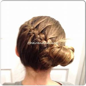Side French braid into bun | @hairandnailscat | Pinterest