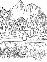 Coloring Pages Mountains Spring Adult sketch template