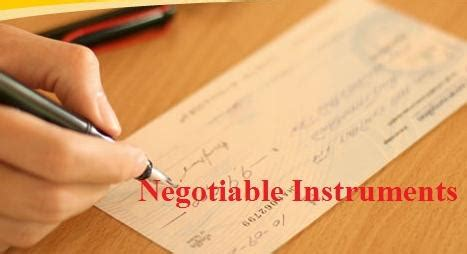 main types  negotiable instruments