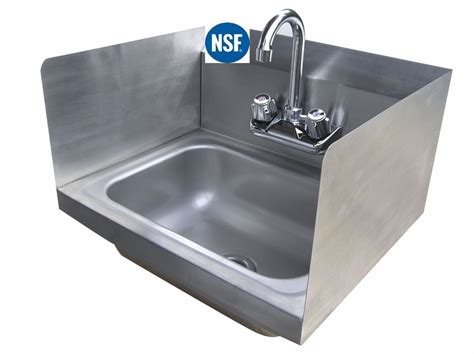 which side is water on a sink stainless steel wall hung hand sink with side splashes 12