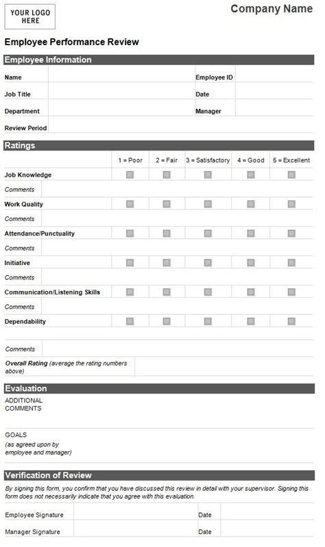 employee evaluation template employee performance