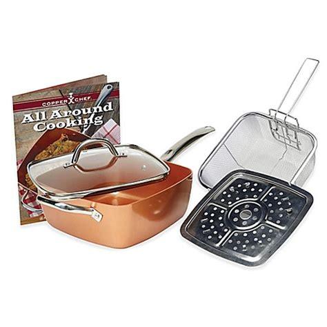 copper chef  piece deep   square pan set bed bath