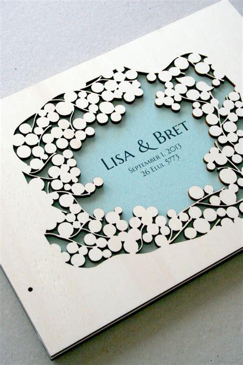 woodcut wedding guest book album branches love birds