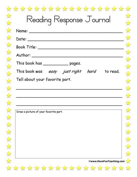 reading response worksheets reading response journal teaching