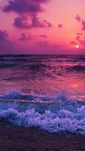 Pink Sunset  Sea Waves  Beach  720x1280 Wallpaper