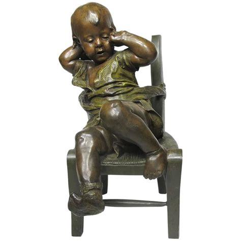 abdos sur une chaise 19th century patinated bronze sculpture quot l enfant