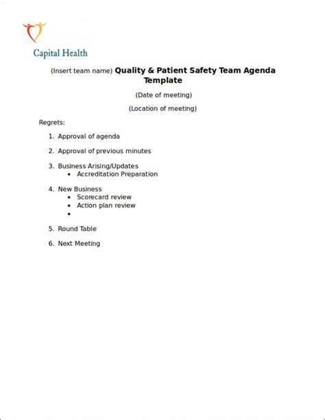 safety agenda samples templates  ms word