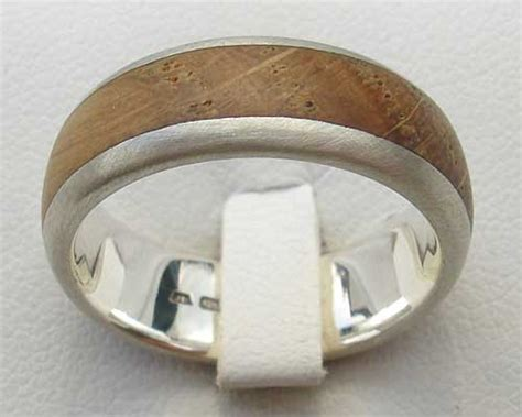 s wooden inlay silver wedding ring love2have in the uk
