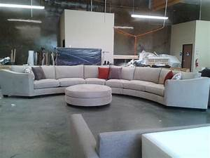 Grey modern couch and dark gray sectional tow seat sofa for Round coffee table with sectional sofa