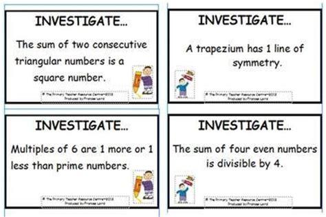 maths investigation cards