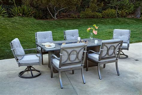 Aragon 7pc Fire Pit Dining Table Set