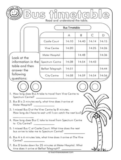 timetable teaching math worksheets