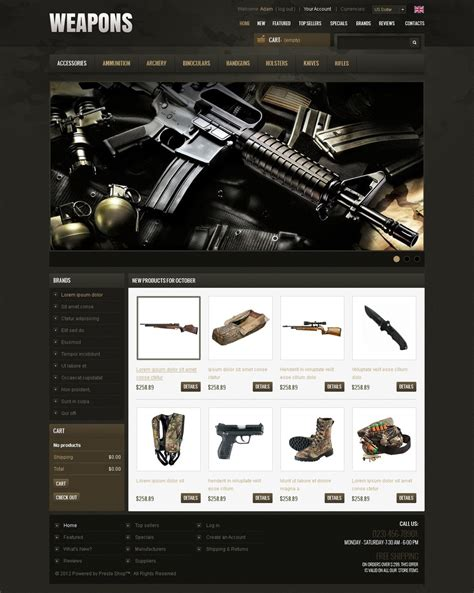 powerful weapons oscommerce template