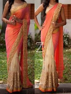 Designer Sarees Replica Online Beige With Peach Designer Bollywood Replica Sequence