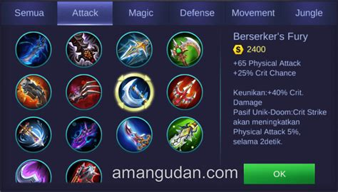mobile legends items build item gear miya mobile legend terbaik amangudan