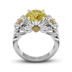 black womens wedding ring dazzling engagement ring with yellow gemstone for