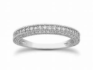 Fancy Pave Diamond Milgrain Wedding Ring Band In 14k White