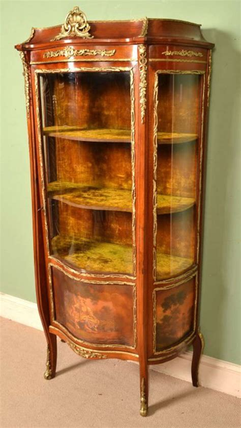 Antique French Vernis Martin Vitrine Cabinet, Circa 1900