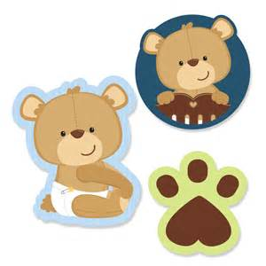 24 pc small boy teddy bear paper cut outs baby shower or