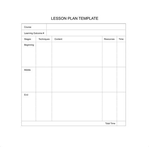 printable lesson plan template 11 sle blank lesson plans sle templates