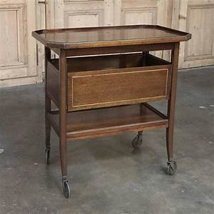 Antique Bar Cart Or Tea Serving Cart With Tray At 1stdibs