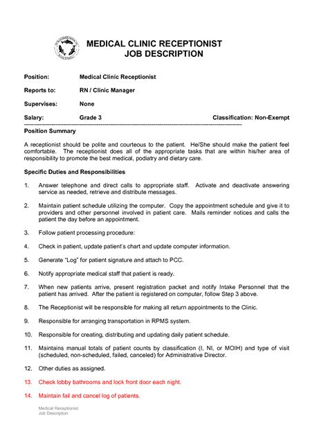 Front Desk Receptionist Duties by 10 Exle Resume Receptionist Description