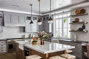 White Kitchen Island With Gray Wishbone Counter Stools