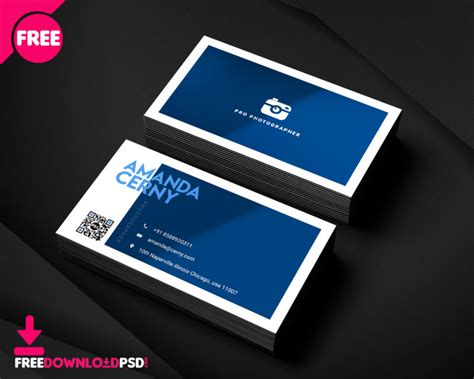 photographer business card template freedownloadpsdcom